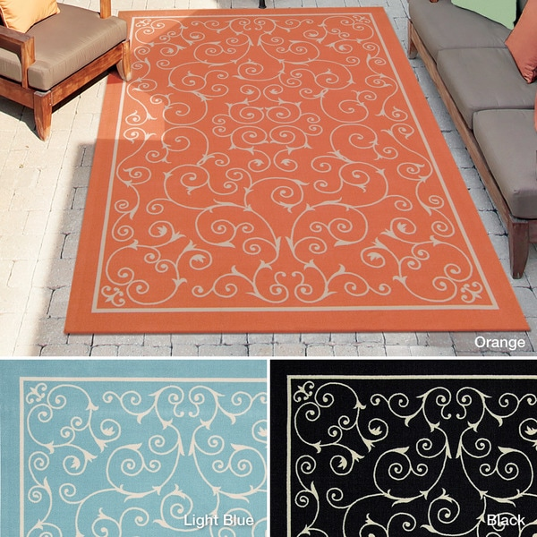 Rug Squared Palmetto Scroll Indoor/Outdoor Area Rug (7'9 x 10'10) - 7'9 x 10'10