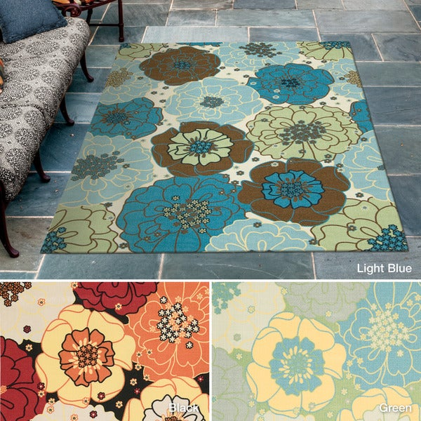 Rug Squared Palmetto Floral Indoor/Outdoor Area Rug (7'9 x 10'10) - 7'9 x 10'10