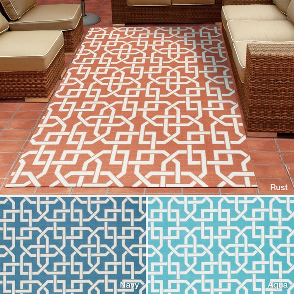 Rug Squared Palmetto Geometric Indoor/Outdoor Area Rug (7'9 x 10'10) - 7'9 x 10'10
