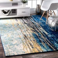 Clay Alder Home Hillsboro Modern Abstract Vintage Blue Area Rug (5' x 7'5) - 5' x 7'5