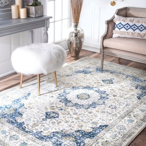 Nuloom traditional persian vintage fancy area rug 5 39 x 7 for Living room rugs 9x12