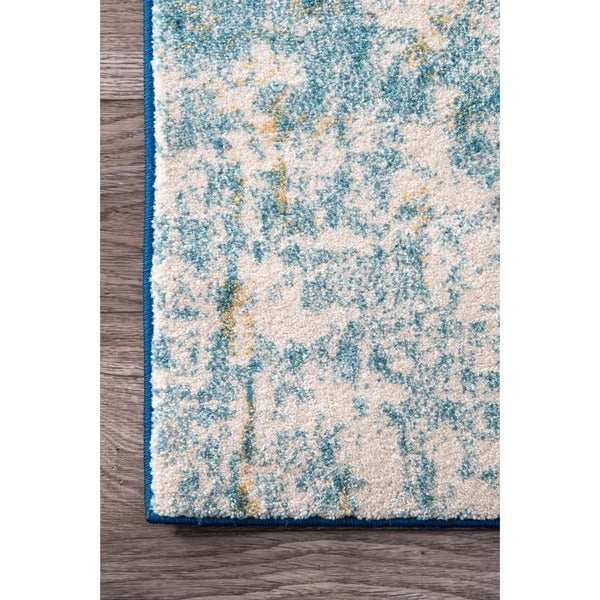 nuloom modern abstract vintage blue area rug 8u0027 x 10u0027 free shipping today - Nuloom