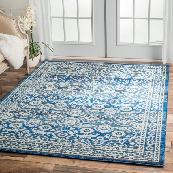 Shop Nuloom Traditional Persian Fancy Aqua Rug: NuLOOM Traditional Persian Vintage Dark Blue Rug (8' X 10