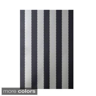 Decorative Nautical Stripe Pattern Area Rug (4' x 6')