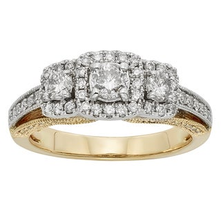 Sofia 14k Two-tone 1ct TDW Round-cut Diamond Halo Engagement Ring (H-I, I1-I2)