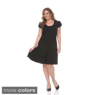 White Mark Women's Plus-size 'Cara' Short Sleeve Dress