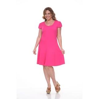 White Mark Women's Plus-size 'Cara' Short Sleeve Dress