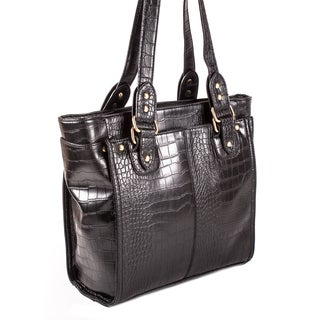 Bueno 'Lane' Black Croc-embossed Faux Leather Tote