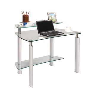 Christopher Knight Home Chrome and Glass Computer Desk