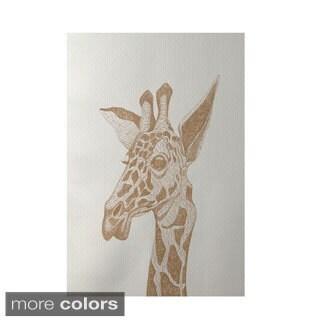 Decorative Giraffe Sketch Animal Pattern Area Rug (2' x 3')