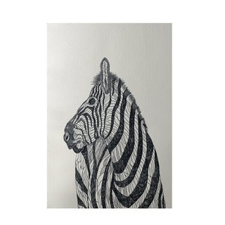 Decorative Zebra Sketch Animal Pattern Off White and Black Area Rug (2' x 3')