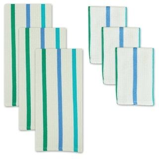 Sea Blues 6-piece Heavyweight Dishtowel/ Dishcloth Set