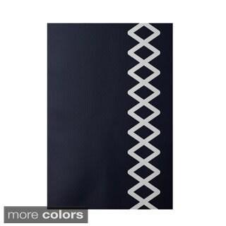 Decorative Side Diamond Stripe Geometric Pattern Area Rug (2' x 3')