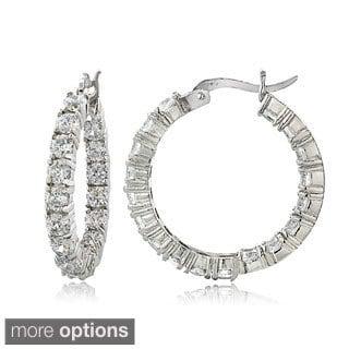 ICZ Stonez Sterling Silver 100 Facet Cubic Zirconia Inside-out Hoop Earrings