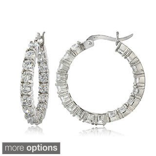 ICZ Stonez Sterling Silver 100 Facet Cubic Zirconia Inside-out Hoop Earrings