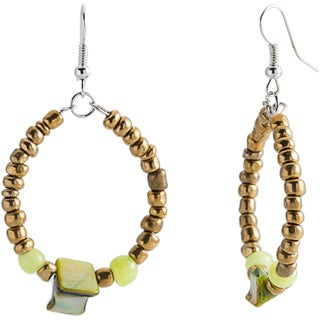 Silvertone Mediterranean Bead and Shell Hoop Earrings