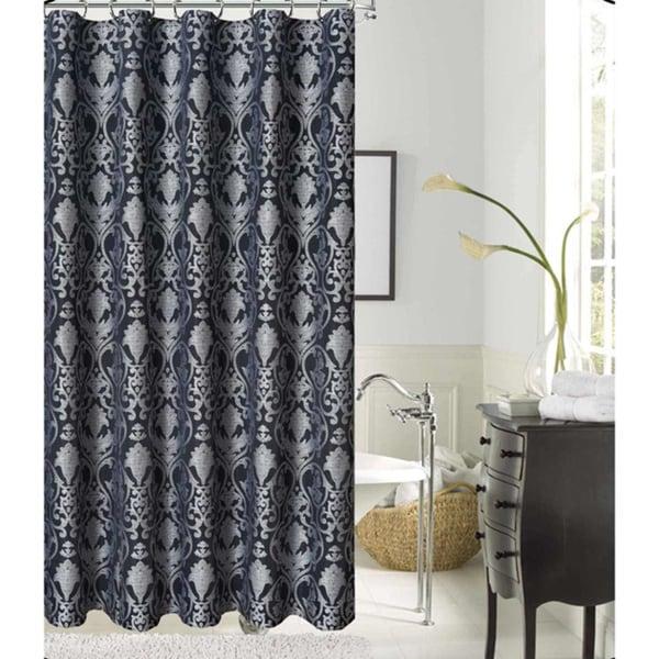 LaVista Jacquard Silver Black Polyester Fabric Shower