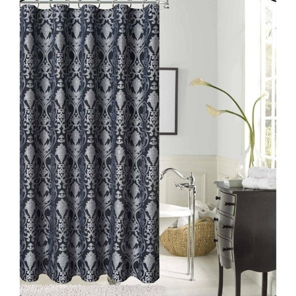 LaVista Jacquard Silver/ Black Polyester Fabric Shower Curtain