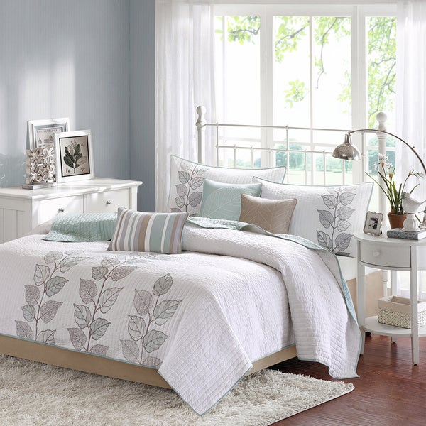 Madison Park Jocelyn 6-piece King Size Coverlet Set in Seafoam Blue (As Is Item). Opens flyout.