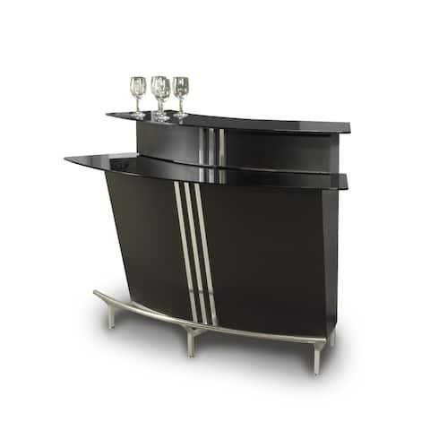 Somette Boulevard Black Glass Table Top Bar
