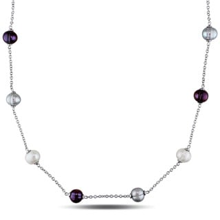 Miadora Sterling Silver Freshwater Multi-color Pearl Station Necklace (8.5-9 mm)