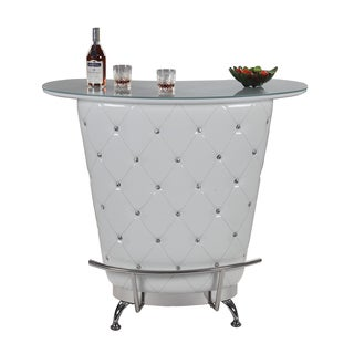 Christopher Knight Home Giorgio White Tufted Home Bar with Glass Top