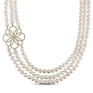Miadora Yellow Plated Silver Cultured Freshwater Pearl and Cubic Zirconia Necklace (7-8 mm)