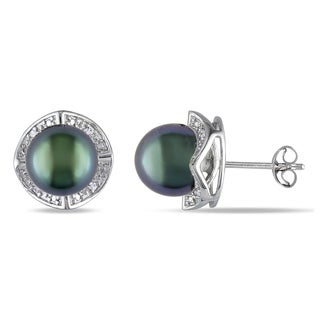 Miadora Silver Tahitian Pearl Diamond Accent Stud Earrings (8-8.5 mm)