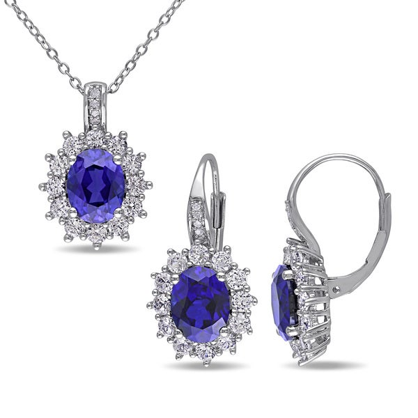 Miadora Silver Created Blue and White Sapphire and Diamond Accent Birthstone Earrings and Necklace Set