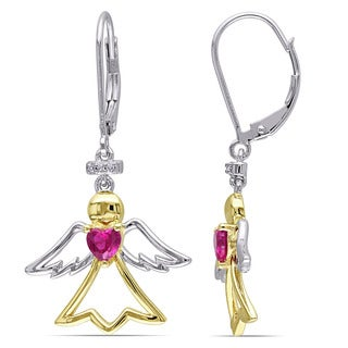 Miadora Two-tone Silver Created Ruby Diamond Accent Angel Heart Earrings