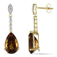 Miadora 14k Yellow Gold Cognac Quartz 1/6ct TDW Diamond Teardrop Earrings (G-H, I2-I3)