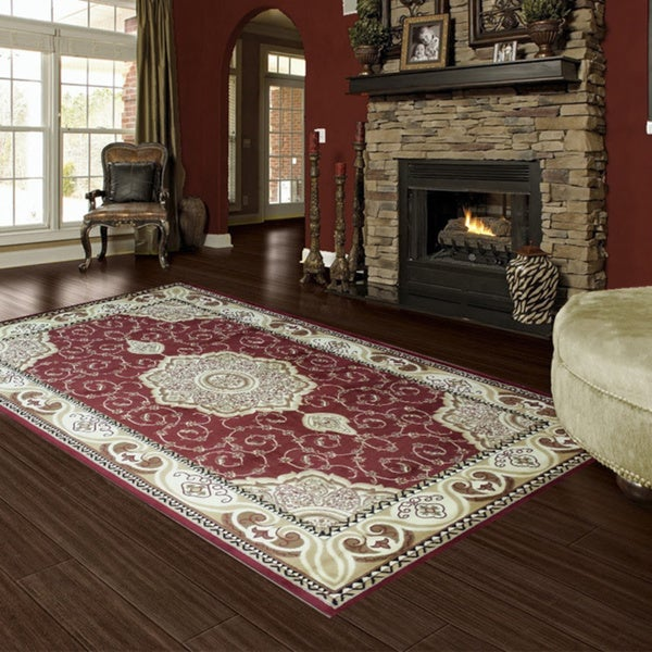 LYKE Home McKayla Red Oriental Area Rug (8' x 11')