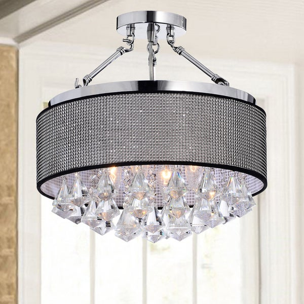 Yessica Rhinestone Black Shade Semi-Flush Mount Crystal Chandelier