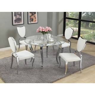 Somette Lexie 48-inch Glass Dining Table - Silver