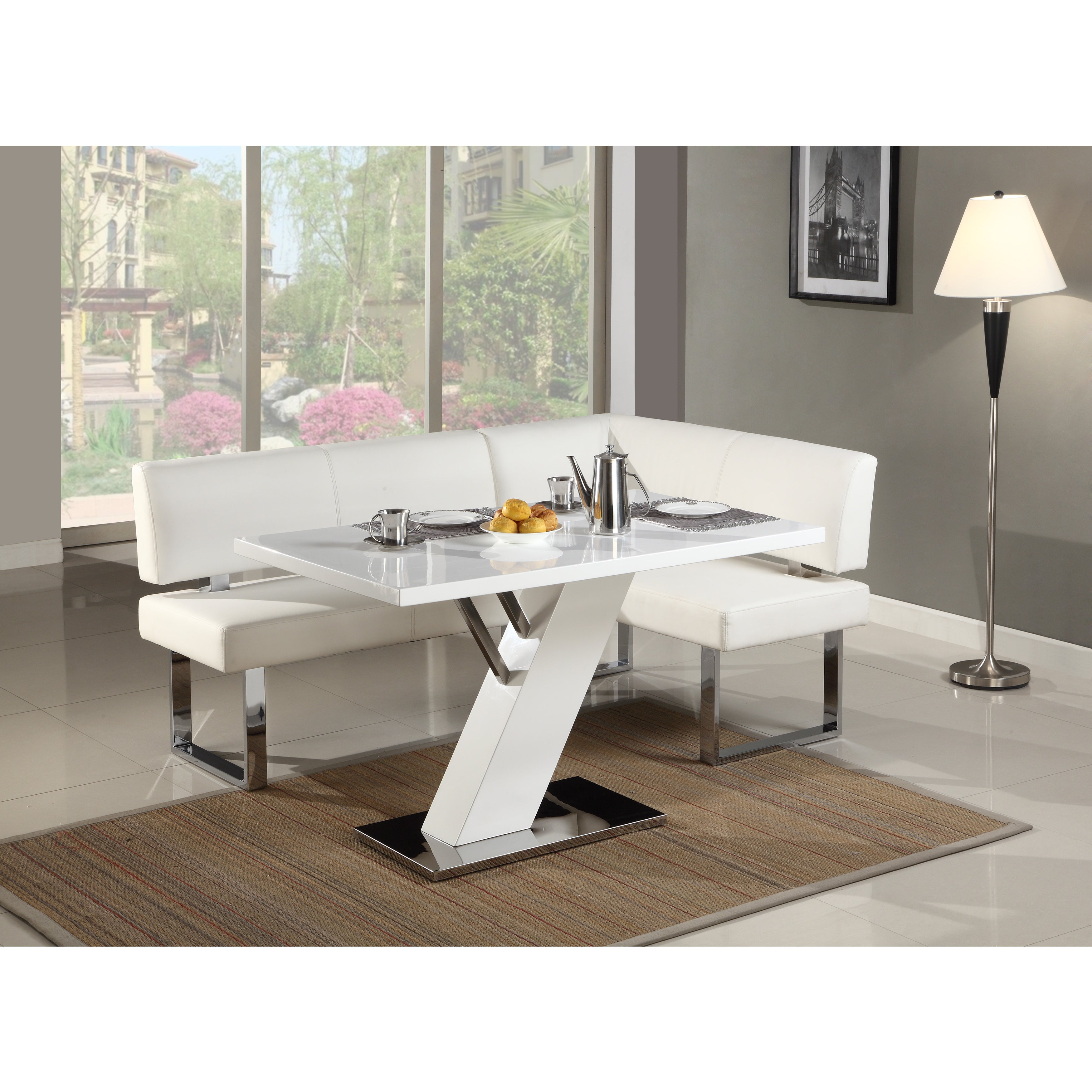 Somette Leah Gloss White Chrome Dining Table