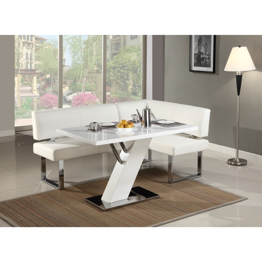 Somette  Leah Gloss White/Chrome Dining Table - 51.18 x 31.5 x 29.72 (Leah Dining Table)