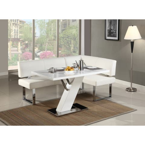 Somette Leah Gloss White/Chrome Dining Table - 51.18 x 31.5 x 29.72