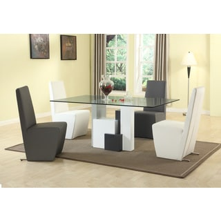 Christopher Knight Home Shelby White and Grey Rectangular Glass Dining Table