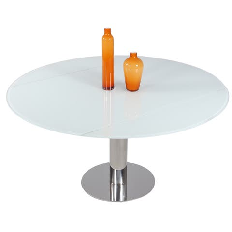 """Somette Tatiana White Round Dining Table - 34.65""""W x 57.09""""D x 29.92""""H"""