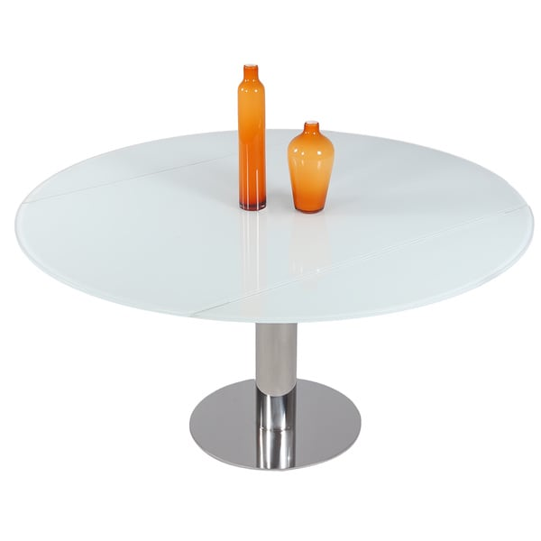 "Somette Tatiana White Round Dining Table - 34.65""W x 57.09""D x 29.92""H. Opens flyout."