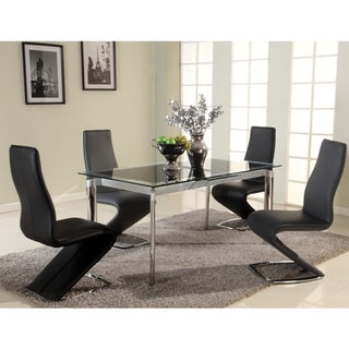 Somette Tamra Black Pop-Up Extension Glass Dining Table