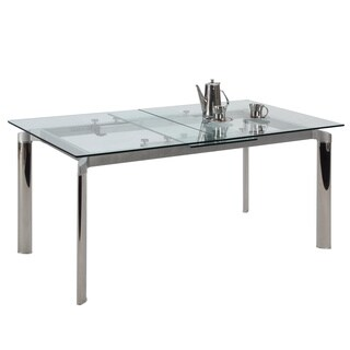 Somette Tamra Glass Pop-Up Extension Glass Dining Table - Silver