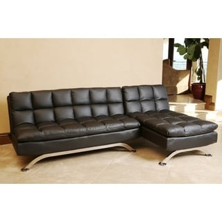 ABBYSON LIVING Vienna Black Leather Sofa Bed and Chaise Sectional