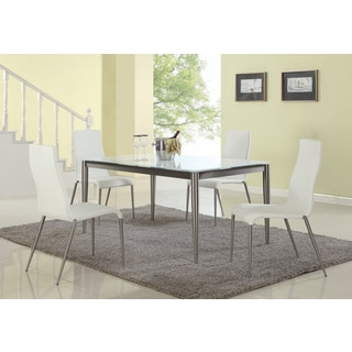 Christopher Knight Home Reina Starphire Glass Dining Set with White Chairs (Set of 5)