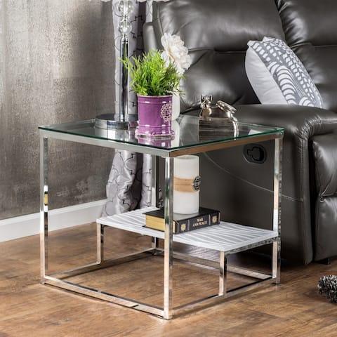Furniture of America Deitie Modern Chrome End Table