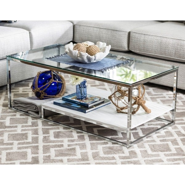 Furniture of America Deitie Modern Chrome Coffee Table Free
