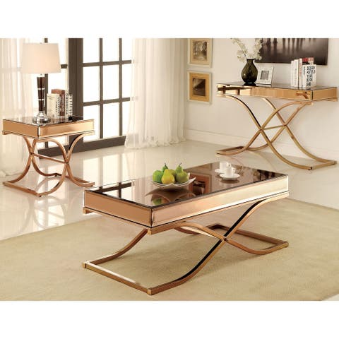 Furniture of America Laja Contemporary Copper 3-piece Accent Table Set
