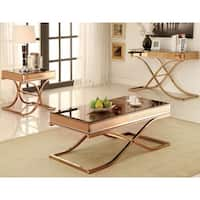 Furniture of America Orelia Luxury Copper 3-piece Accent Table Set