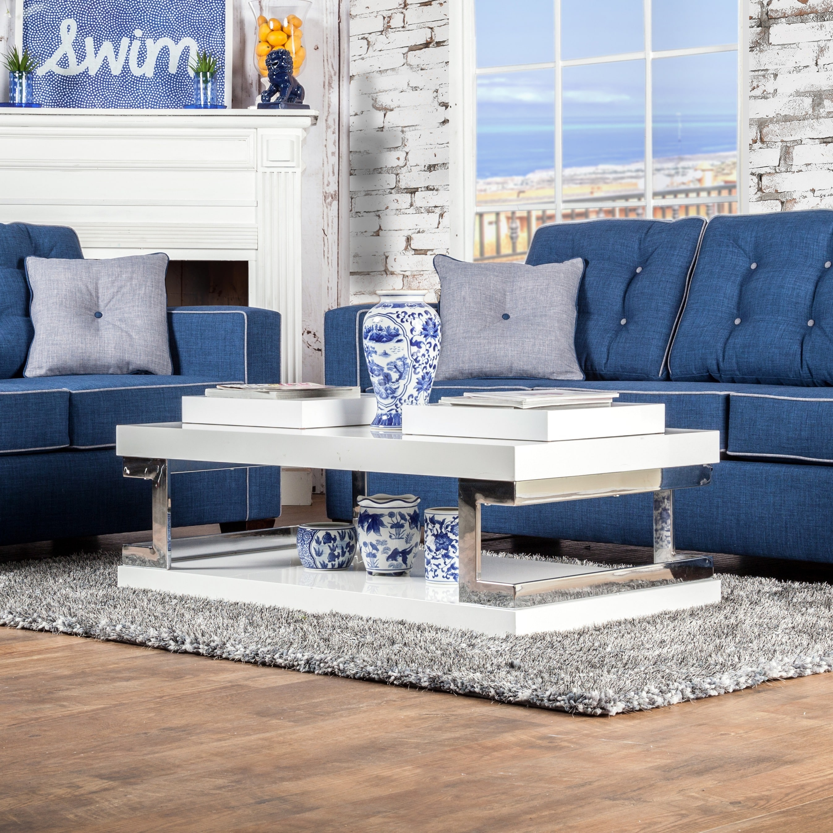 Furniture of America Lolie White Gloss Coffee Table (White)