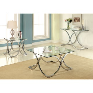 Furniture of America Artenia Modern 3-Piece Chrome Accent Table Set